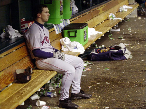 Sept. 29, 2000 The Red Sox' playoff hopes were ended in an 8-6 loss to the D-Rays. Tampa Bay closer Roberto Hernandez heckled the visiting Red Sox after the win, sparking Trot Nixon to respond in kind from the dugout.