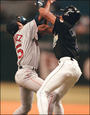 Aug. 29, 2000 Pedro Martinez hit Gerald Williams, the first batter of the game, with a pitch and the bad blood began. Williams charged the mound and both benches cleared. Eight players from the Devil Rays were ejected from the game. Pedro Martinez went on to pitch a one-hit gem, striking out 13 batters. Martinez carried a no-hitter into the ninth inning, but it was broken up by John Flaherty.