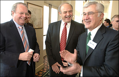 House Speaker Salvatore F. DiMasi (center) talked yesterday with Peter Meade (left) of Blue Cross and Blue Shield and Paul Guzzi, chief executive of the Greater Boston Chamber of Commerce. The speaker addressed the chamber yesterday.