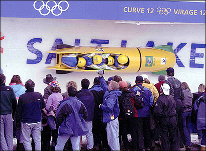 Eric Maleson drove the Brazilian 'Frozen Banana' four-man bobsled during the 2002 Winter Olympics in Salt Lake City.