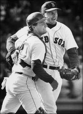 Roger Clemens celebrated with catcher John Marzano after pitching a complete-game shutout and striking out 13 Brewers. He finished the 1988 season with a career high 296 strikeouts, and went 18-12 with a 2.93 ERA. The Sox were swept in the ALCS by the Oakland Athletics.