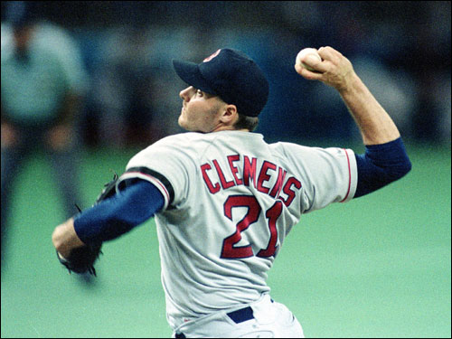 Roger Clemens delivered the ball against the Seattle Mariners in a 4-1 victory at the Kingdome. Clemens had another dominant season in 1990, going 21-6 with a league leading 1.93 ERA and 209 strikeouts. He came in second in Cy Young balloting to Oakland's Bob Welch (27-6), despite striking out 82 more batters and having an ERA that was more than a run lower.