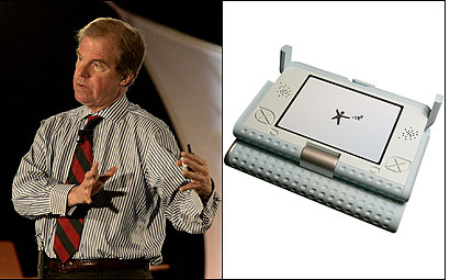 Nicholas Negroponte (left) of MIT revealed details yesterday about his $100 laptop (right), which will be produced by his nonprofit, One Laptop Per Child.