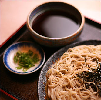 Soba-ya, on East 9th St., is a clean and serenely lit refuge with a quiet little fountain in the vestibule. This is 'Zalu Soba,' ca, a classic staple served at Soba-Ya.