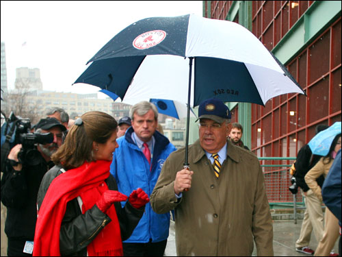 During a visit to Fenway Park, Boston Mayor Thomas Menino (right) was escorted into the park by Janet Marie Smith (left), Senior VP of planning and development for the Red Sox.