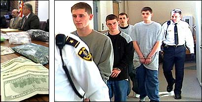 Left, evidence police said was seized from a student's home after a three-month undercover probe. Right, Adam Hey, Scott Theirault, Chad Wiernicki, and Ryan Tripp (left-right) were led into Falmouth District Court yesterday.