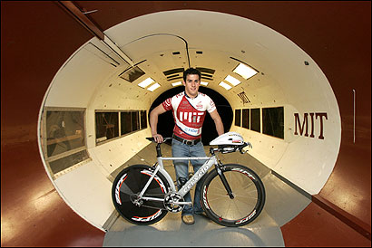 Undergraduate Mark Cote at MIT's Wright Brothers Wind Tunnel, where he tests cyclists' positions and new cycling equipment.
