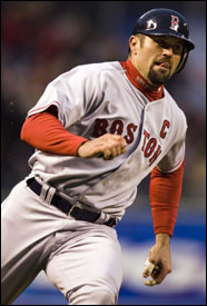 Jason Varitek races to score a run in the Baltimore series; he's counted on more for his defense than his offense, though.