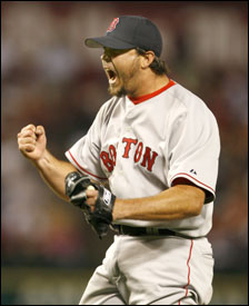 Josh Beckett reacts after an inning ending strikeout against the Rangers over the weekend. Former teammates agree that he has what it takes to thrive in the Boston spotlight.