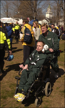 Dick and Rick toured the Hopkinton town green prior to the start of the 2003 Boston Marathon. This was the only race Team Hoyt didn't participate in, due to Dick suffering a heart attack related to a hereditary condition of high cholesterol.