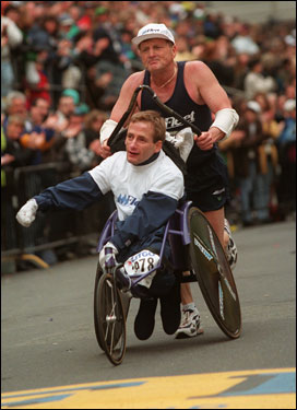 Team Hoyt didn't settle for the Boston Marathon, or marathons alone for that matter. Among the 936 events they've been in together, the two have completed a handful of triathalons. However, like this photo in 1998, they always look forward to crossing the finish line of the Boston Marathon.