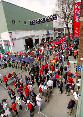 Hundreds of fans lined up outside of Fenway for Boston's first home game of the season.