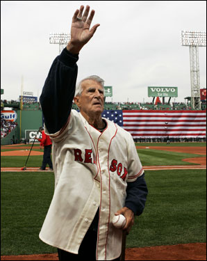 Red Sox great Johnny Pesky waved to fans during opening ceremonies before the home opener.