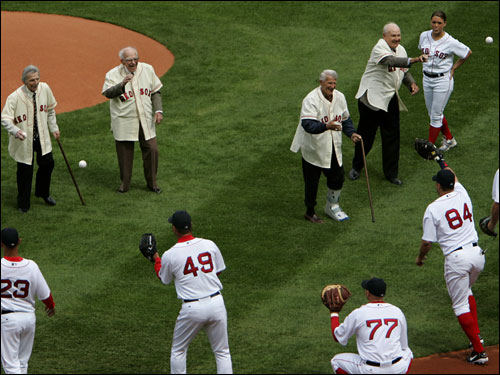 Red Sox players from the 1946 team threw out the first pitch at Fenway Park for the 2006 season.