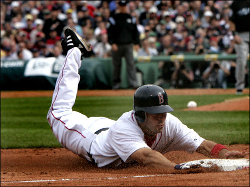 Adam Stern stole third base in the second inning. He would later score on a double by Kevin Youkilis.