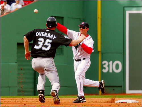 Mark Loretta completed a 6-4-3 double play over Lyle Overbay to end the first inning.