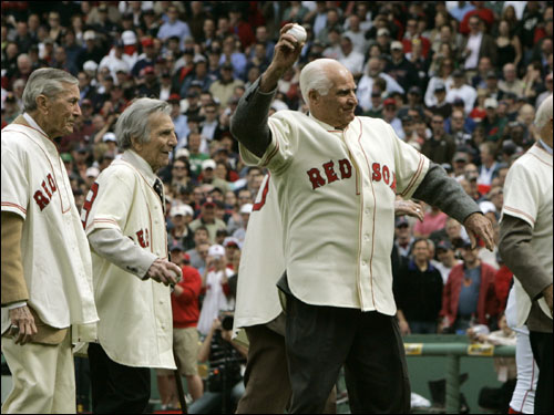 Legends from the 1946 Boston Red Sox throw out the ceremonial first pitch prior to the game.