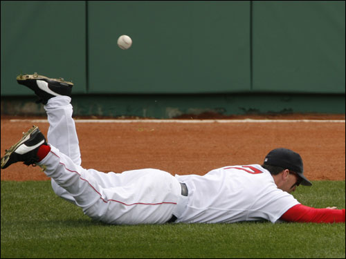 Trot Nixon dove but could not come up with the ball in the second inning. Nixon left the game with a groin injury.