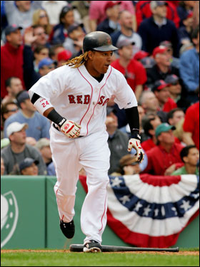 Manny Ramirez flied out to center to end the first inning.