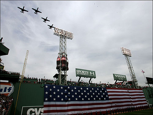 Jets flew over Fenway Park during Opening Day ceremonies after the singing of the national anthem.