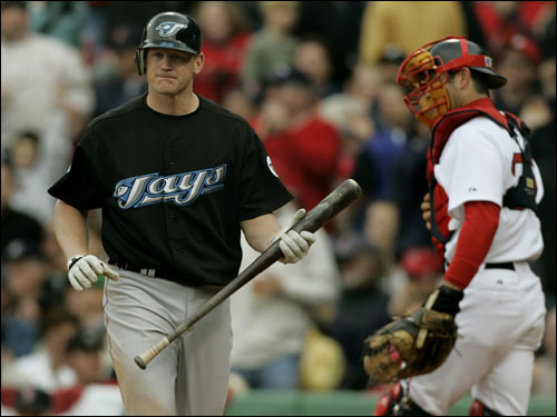 Lyle Overbay walked back to the dugout after striking out in the ninth inning against Papelbon.