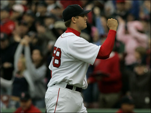 Papelbon pumped his fist after earning his fourth save of the season with a 1-2-3 inning.