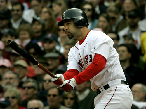 Mike Lowell watched the flight of his second inning double.