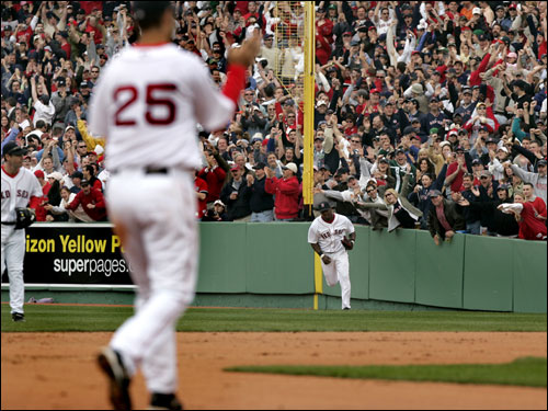 The Red Sox and their fans celebrated the last out of the game on a fly ball to Wily Mo Pena.