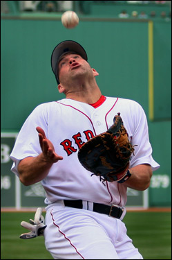 Kevin Youkilis made a nice play on a foul ball hit by Shea Hillenbrand in the fourth.
