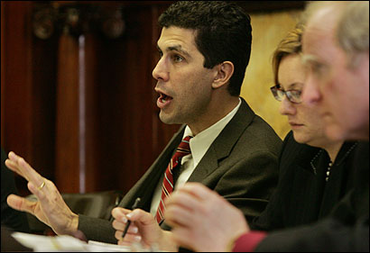 Senator Jarrett T. Barrios addressed a hearing of the Joint Committee on Public Safety and Homeland Security yesterday.