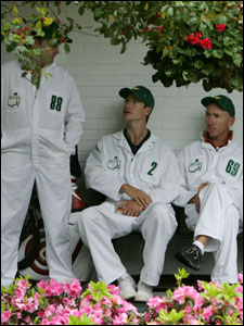 Caddies Billy Foster (Darren Clarke), James Williams (Nick O'Hern), and Michael Doran (David Howell) seek refuge at Augusta.