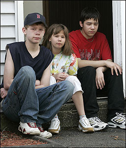 Siblings of Army Private George R. Roehl Jr. mourned his loss in Manchester, N.H., yesterday. From left were Steven, Breanna, and Ben.