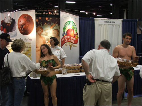 Among the exhibitors at the expo were Rebecca Faulker (left) and Brent Nowak, actors who dressed up as Adam and Eve to promote their product, Vitamuffins.