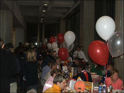 Runners filled every corner of City Hall to chow down on a much-needed dinner.