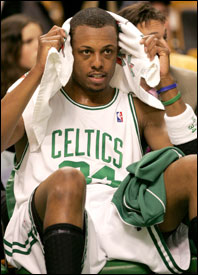 Paul Pierce, shown here on the bench in last week's loss to the Knicks, collected just his 17th career DNP on Sunday.