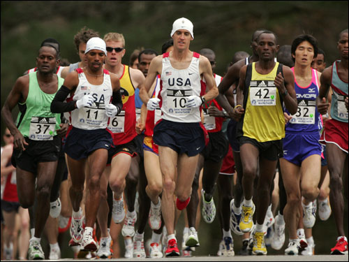 Americans Alan Culpepper and Meb Keflezighi were part of the lead pack at the beginning of the race.