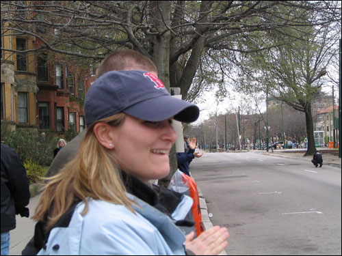 Dori, a 28-year old career counselor at Emerson College, watched the marathon from a street corner in Kenmore Square. She guessed that there were 21,000 runners, which wasn't far off from the official field of 22,517 entrants.