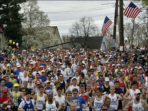 There was not much room as the colorful throng of runners filled the roadway at the starting line in Hopkinton, where they were about to embark on their 26.2-mile trek to Boston.