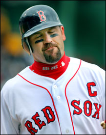 Jason Varitek was slowed by a sore gluteus muscle, but it didn't prevent him from contributing an RBI single in the eighth.