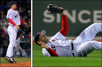 Jonathan Papelbon (left) goes to his tip toes to watch the final, bases-loaded out in the ninth, which was snagged by a diving Adam Stern (right).