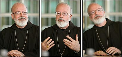 Cardinal Sean P. O'Malley sat for a wide-ranging interview on Catholic issues yesterday.