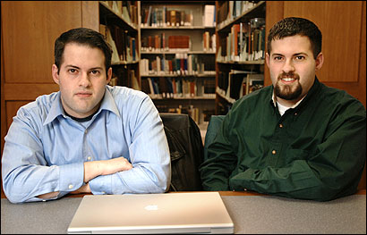 Twins Aaron (left) and Matt Margolis, 25, run their blog, hubpolitics.com, from the North Shore.