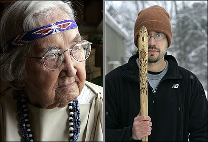 Valentine Ranco (left) speaks Penobscot fluently but laments having no Wells, Maine, neighbors who share her native tongue. Maine's Joe Dana, holding a carved 'snake,' helps children learn the Penobscot language with games like snowsnake.