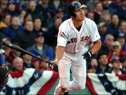 April 1, 2002 Johnny Damon in his first-ever plate appearance as a member of the Red Sox on Opening Day at Fenway.