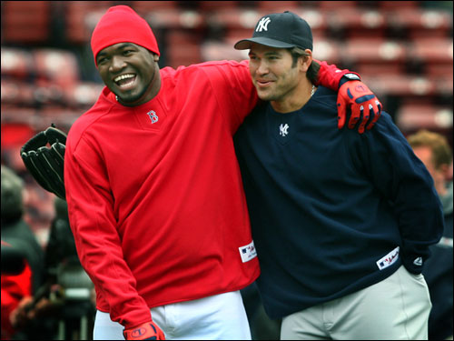 David Ortiz shared a laugh with Damon during batting practice.
