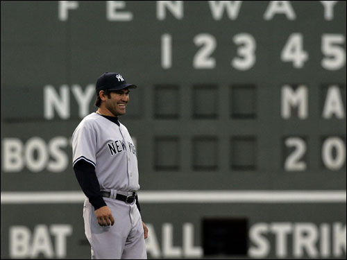 Damon was all smiles during warmups at Fenway.
