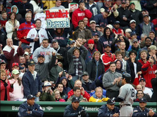 There were a countless number of signs made for Damon by the fans. Most had negative messages, like the one pictured here after Johnny flied out to right in his first at bat.