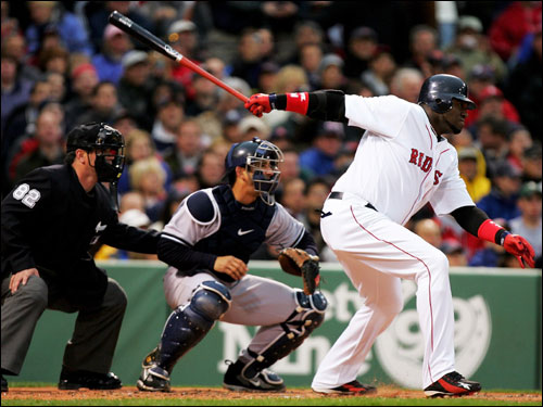 David Ortiz hit an opposite field single in the bottom of the first with Kevin Youkilis on second base.