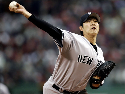 Chien-Ming Wang made the start for the Yankees, going five innings and giving up three earned runs.