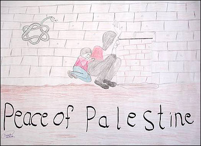 Samah al-Azza, 13, created this painting for an exhibit at Brandeis that was later removed.